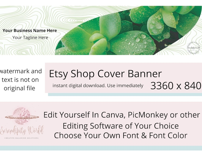 Succulent Etsy Cover Photo, Gardening Etsy Premade Cover Image, Professional Etsy Shop Banner, Business Branding