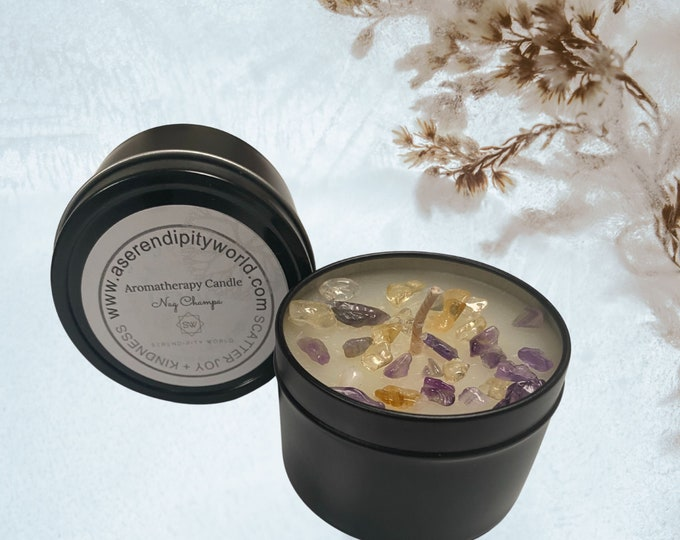 4 oz Soy Blend Love Spell Crystal Candle, Great for Meditation and Manifesting Rituals, Chakra Balancing