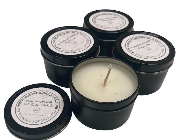 4 oz Asian Sandalwood Soy Blend Candle, Aromatherapy Travel Tin, Decorative Home Decor