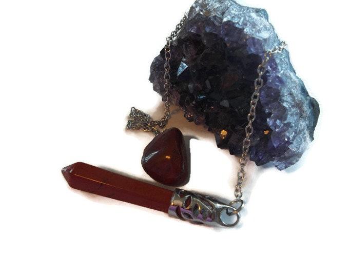 Red Jasper Crystal Point Pendulum, Dowsing Pendulum, Protection Stone
