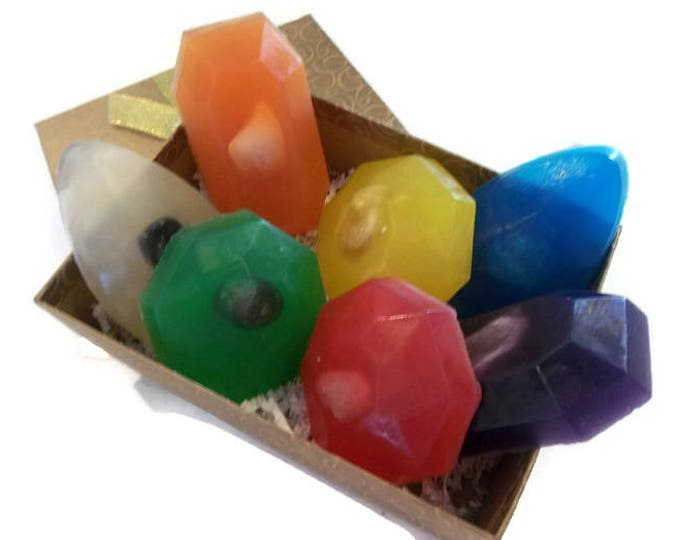 Crystal Soap Bar Set of 7, Intention Soaps With Crystal Inside For Mindfulness