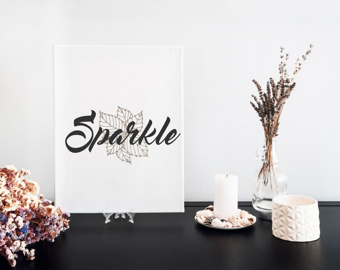 Sparkle Typography Word Art Print, Motivational Mantra, Minimalist Word Art, Printable Word of the Year, Vision Board Artwork