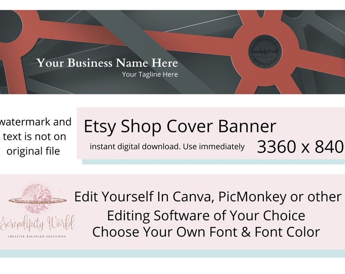 Black Geometric Etsy Cover Photo, Red Etsy Premade Cover Image, Professional Etsy Shop Banner, Business Branding
