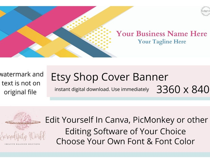 Colorful Etsy Cover Photo, Pink Etsy Premade Cover Image, Yellow Geometric Banner, Professional Etsy Shop Banner, Business Branding