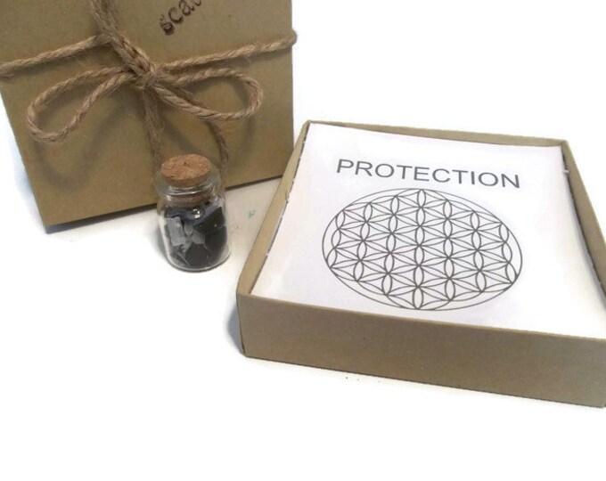 Protection Crystal Grid Set, Tourmaline Hematite & Selenite Shards
