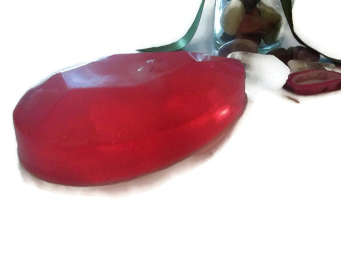 Red Jasper Crystal Soap, Luxury Artisan Soap Bar With Crystal Inside