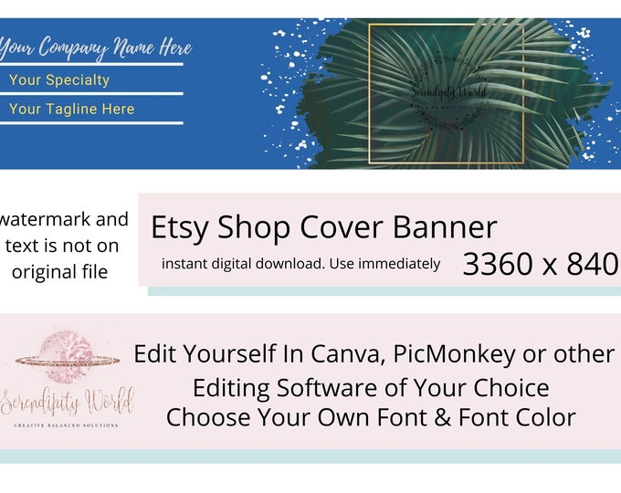 Tropical Etsy Cover Photo, Palm Tree Etsy Premade Cover Image, Professional Etsy Shop Banner, Business Branding