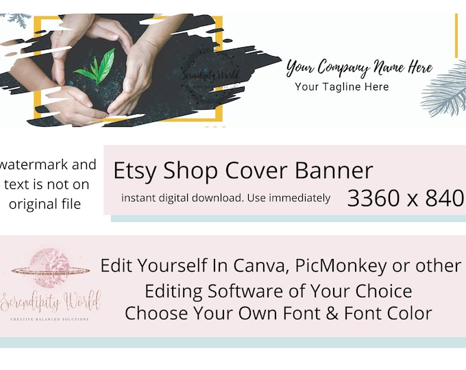 Gardening Etsy Cover Photo, Florist Etsy Premade Cover Image, Plant Banner, Professional Etsy Shop Banner, Business Branding