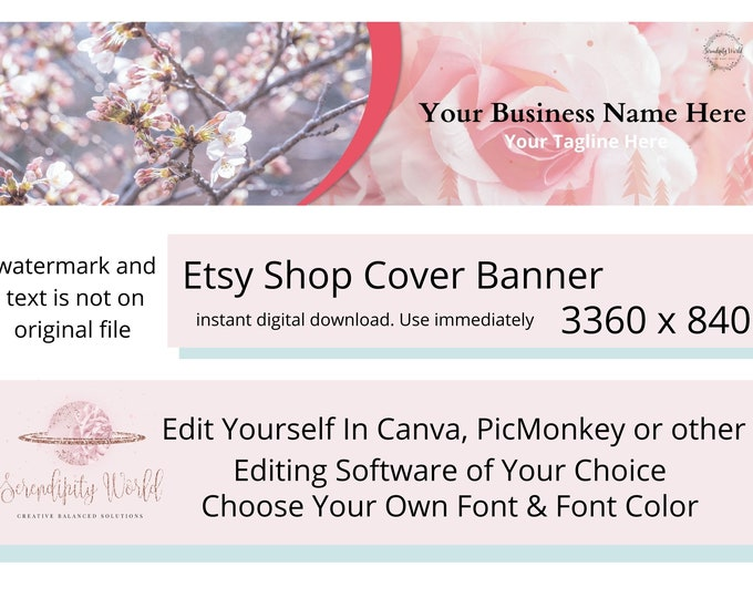 Cherry Blossom Etsy Cover Photo, Wedding Etsy Premade Cover Image, Professional Etsy Shop Banner, Business Branding, Pink Roses