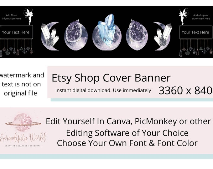 Moon Phase Etsy Cover Photo, Healing Crystals Etsy Premade Cover Image, Professional Etsy Shop Banner, Black Moon & Crystal Branding Header