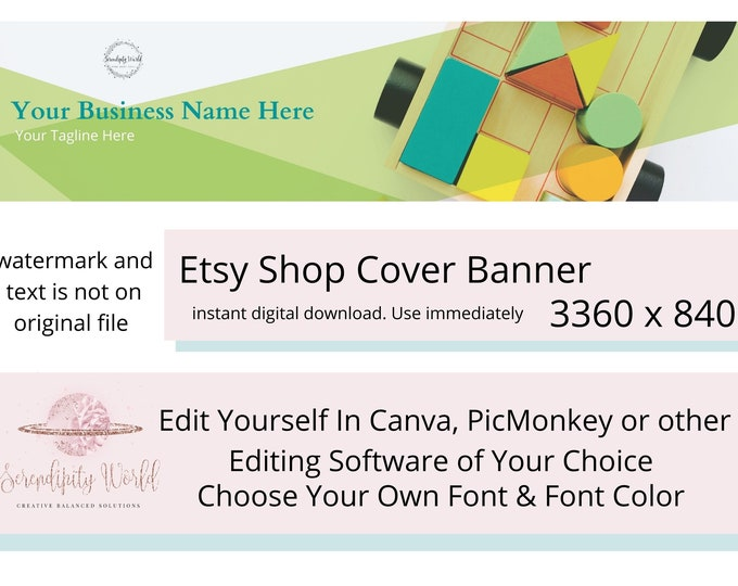 Wooden Blocks Etsy Cover Photo, Kid Store Geometric Banner, Etsy Premade Cover Image, Professional Etsy Shop Banner, Business Branding