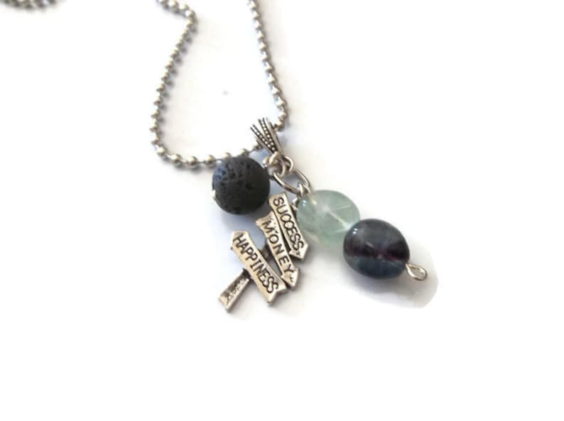 Money Necklace Lava Stone Diffuser Necklace Spiritual Fluorite Gemstone Necklace Law of Attraction Necklace Succes Necklace