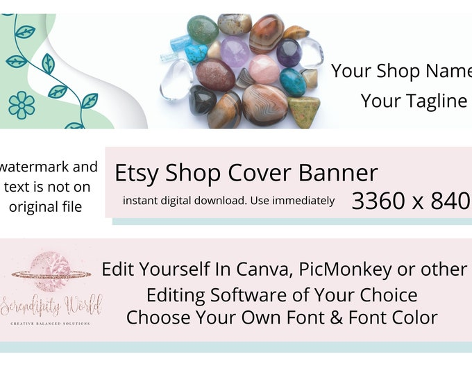 Healing Crystals Etsy Cover Photo, Manifesting Etsy Premade Cover Image, Spiritual Etsy Shop Banner, Professional Business Branding