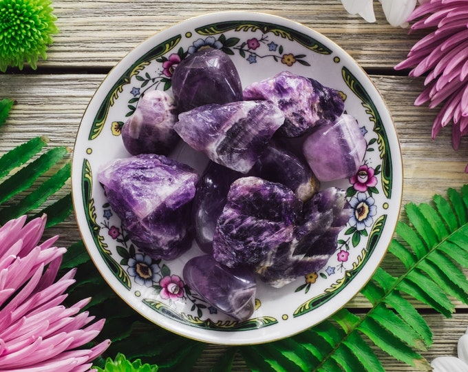Tumbled Amethyst Healing Crystal, Crown Chakra, Peace Stone, Crystal Grid Stones, Chevron Amethyst, Banded Amethyst Stones