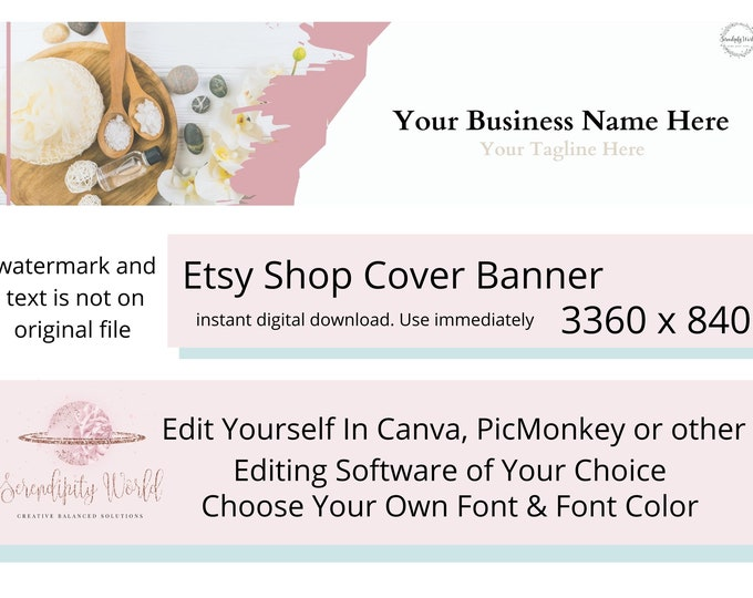 Aromatherapy Etsy Cover Photo, Bath & Body Etsy Premade Cover Image, Beauty Etsy Shop Banner, Professional Business Branding