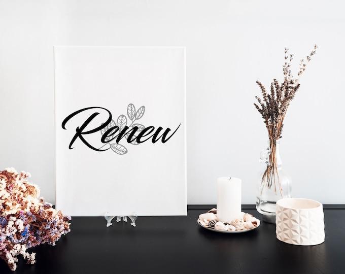 Renew Typography Word Art Print, Desk Art Decor, Vision Board Artwork, Motivational Mantra, Minimalist Word Art, Printable Word of the Year