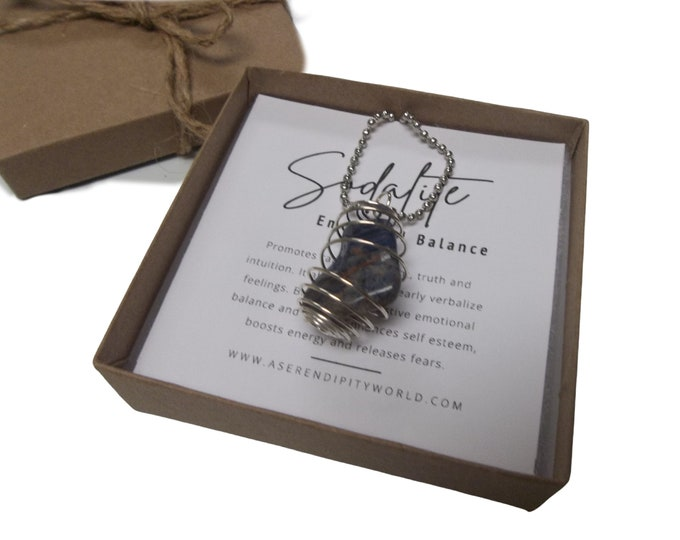 Sodalite Spiral Cage Pendant Necklace, Tumbled Stone With Crystal Card, Calming Balancing Spiritual Awareness