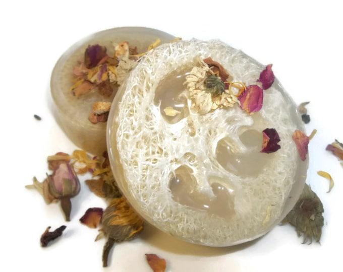 Dried Rose Bud Loofah Soap Body Scrub, Dry Skin Remedy