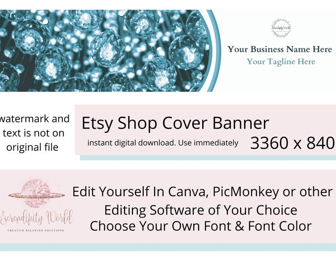 Crystals Etsy Cover Photo, Jewelry Etsy Premade Cover Image, Spiritual Orb Etsy Shop Banner, Professional Business Branding