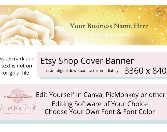 Yellow Rose Etsy Cover Photo, Wedding Etsy Premade Cover Image, Professional Etsy Shop Banner, Business Branding
