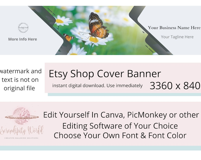 Butterfly Etsy Cover Photo, Gardening Etsy Premade Cover Image, Plant Banner, Professional Etsy Shop Banner, Business Branding