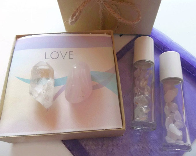 Love Crystals With Roller Bottle Perfume, Quartz With Rose Quartz Gemstone Roll On