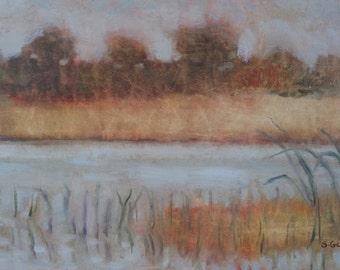 Original Plein Air Oil Painting Marsh Framed
