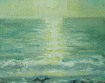 Original Plein Air Framed Oil Painting Ocean Sunset