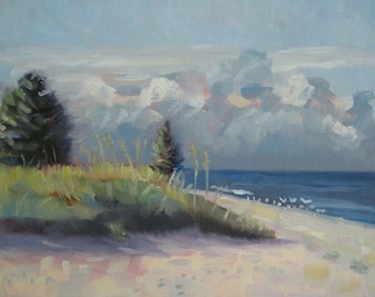Original Plein Air Oil Painting Dunes Seascape and Clouds