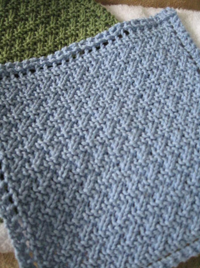 Knit Washcloth Pattern..Simple Weave on Diagonal With ...