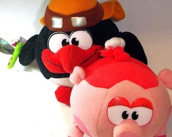Pin(Penguin) and Nyusha (Pig) - 2 soft toys from Smeshariki - animated television series