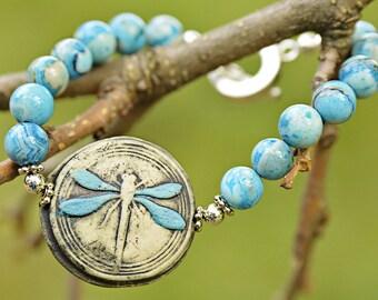 Spring Sale Blue Dragonfly Signed Organic Bangle Bracelet OOAK