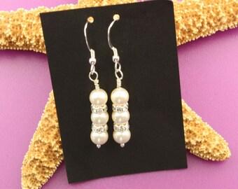 Love is in the Air Wedding Swarovski Pearl Sterling Silver Earrings
