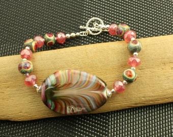Watermelon Pink Lampwork Glass Bracelet OOAK Sterling Silver