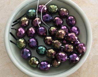 Purple Fire Polish Czech Iris 12mm Beads
