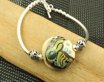 Bali Silver Lampwork Glass Bracelet OOAK Sterling Silver