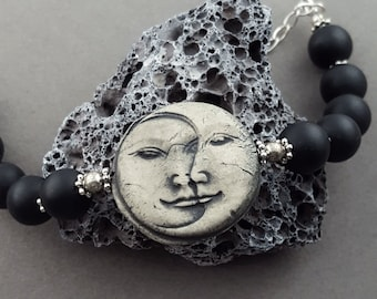 Organic  OOAK Moon Face Bangle Bracelet