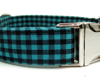 Black and Teal Gingham Dog Collar with Nickel Plate Hardware