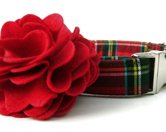 Red Tartan Plaid Dog Collar and Flower Set - Scottie Plaid - Nickel Hardware