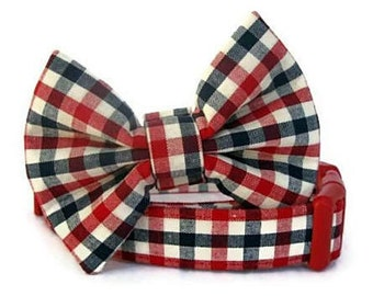 Red White Blue Bow Tie Dog Collar - American Gingham