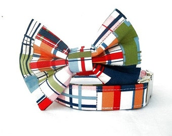 Nautical Plaid Bow Tie Dog Collar with Nickel Plate Hardware