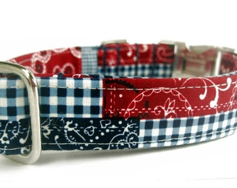 Red White & Blue Dog Collar, Americana Patchwork Plaid, Nickel Plate Hardware, Metal Buckle, Memorial Day, 4th of July, Labor Day