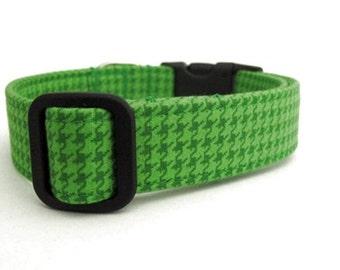 Houndstooth Dog Collar - Emerald Houndstooth