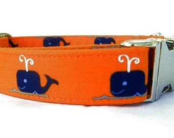 Nautical Dog Collar with Nickel Plate Hardware - Blue Whales on Orange