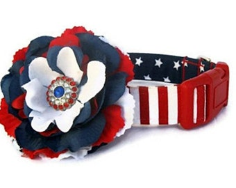 Memorial Day, 4th of July, Labor Day Red White Blue Dog Collar with Flower Accessory - United States Flag Dog Collar, Patriotic Dog Collar