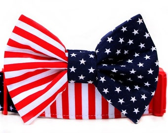 """Stars and Stripes Bow Tie Dog Collar, Extra Wide 1.5"""" Dog Collar with Bow Tie, Memorial Day Bow Tie Collar, 4th of July Bow Tie Dog Collar"""