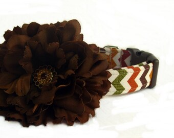 Dog Collar with Flower Accessory - Fall Chevron in Harvest Gold Brown Cranberry Green