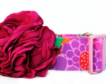 Pink and Purple Dog Collar with Flower Accessory - 1.5 Inch Width - Extra Wide Dog Collar - Maui Garden Dog Collar