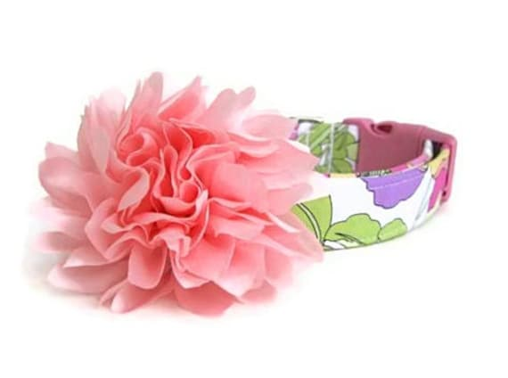 Pink Floral Dog Collar With Flower Accessory Etsy
