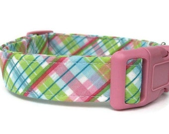 Pink Plaid Dog Collar - Cotton Candy Plaid